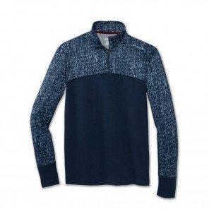 BROOKS Tee-Shirt Manches Longue dash 1/2 zip Homme   Blue