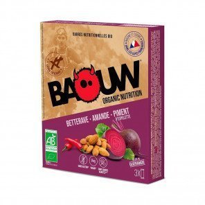 BAOUW Barres énergétiques bio | Betterave - Amande - Piment d'espelette | Pack de 3